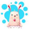 cute rabbit with love heart vector image vector image