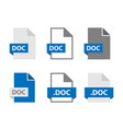 doc files document icon set doc file format sign vector image
