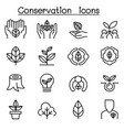 eco friendly conservation icon set in thin line vector image
