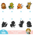 find correct shadow education game set of vector image vector image