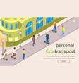 flat banner is written personal eco transport vector image