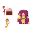flat grandparents and children set vector image