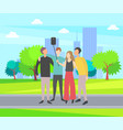 friends spending time together cityscape selfie vector image vector image