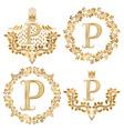 Golden P letter vintage monograms set Heraldic vector image vector image
