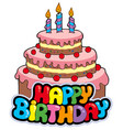 happy birthday sign with cake vector image vector image