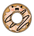 kawaii donut with cream glazed in colored crayon vector image vector image