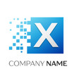 letter x logo symbol in the colorful square with vector image vector image