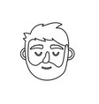 line man head with closed eyes and hairstyle vector image vector image