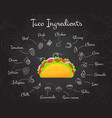 mexican fastfood tacos menu chalk style recipe set vector image