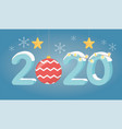 new year 2020 greeting card gold star lights ball vector image