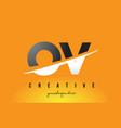 ov o v letter modern logo design with yellow vector image vector image