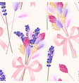 pastel seamless pattern with dried flowers vector image vector image