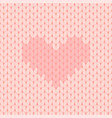 pink knitted seamless pattern with heart vector image vector image