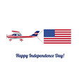 plane in the sky with american flag vector image vector image