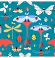 Seamless graphic pattern with different insects vector image vector image