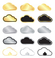 set blank gold and silver clouds and black vector image