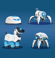 set smart scifi androids with artificial vector image