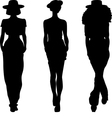 silhouette of fashion girls top models vector image vector image