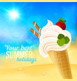 Soft strawberry ice-cream on beach background vector image vector image