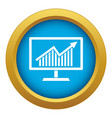 statistics on monitor icon blue isolated vector image vector image
