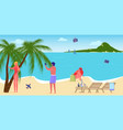 taking some rest with friends in summer resort vector image vector image