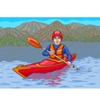 The kayaker is in the water campaign vector image