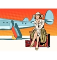 Tourist girl sitting on a suitcase travelling by vector image vector image