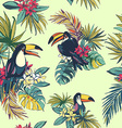 Tropical floral summer seamless pattern with palm vector image vector image