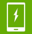 warning phone icon green vector image vector image