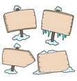 winter wooden signs vector image vector image