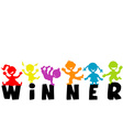 with word WINNER and happy children silhouettes vector image vector image