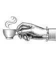 womans hand with a coffee cup vector image vector image