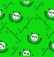 green panda and bamboo seamless pattern vector image