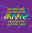 90 s retro alphabet font vector image