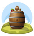 a barrel of wine on hill with jug and grapes vector image