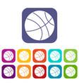 basketball ball icons set flat vector image vector image