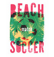 beach football typographical grunge style poster vector image vector image