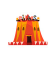 big circus marquee tent with flags cartoon vector image vector image