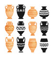 ceramic ancient pottery objects vector image