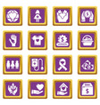 charity icons set purple square vector image vector image