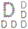 Colorful ellipse fractal font - letter D vector image vector image