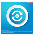 Currency convert icon abstract blue web sticker