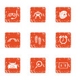 encampment icons set grunge style vector image vector image