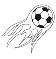 flat black and white soccer fast ball flame vector image