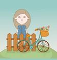 girl standing behind fence with bicycle and vector image