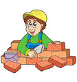 happy bricklayer vector image vector image