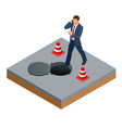 isometric man talking on phone and walks into vector image vector image