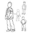 kids line art 02 vector image vector image
