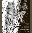 leaning tower sketch hand drawn ink spots vector image