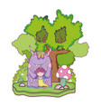 little fairy with monster in the field and tree vector image